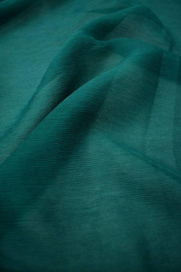 Шифон шелк креш темно-зеленый оттенок (6730) - Фото 6