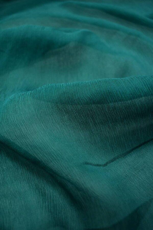Шифон шелк креш темно-зеленый оттенок (6730) - Фото 10