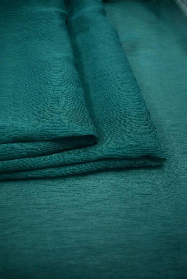 Шифон шелк креш темно-зеленый оттенок (6730) - Фото 9