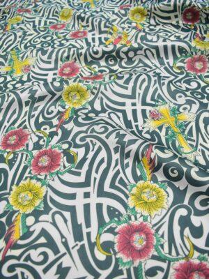 Подкладочная вискоза белая с орнаментом и цветами (6751) - Фото 14
