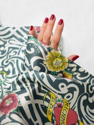Подкладочная вискоза белая с орнаментом и цветами (6751) - Фото 15