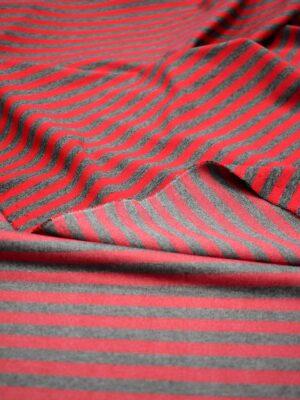 Джерси трикотаж в серую и красную полоску (7020) - Фото 16