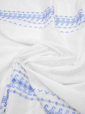Шитье белый фон голубая кайма из ромбов (7178) - Фото 18