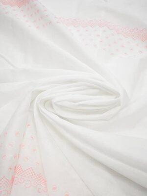 Шитье хлопок белый розовая кайма с колечками (7182) - Фото 18