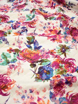 Курточная стеганая ткань с акварельными цветами (7205) - Фото 12
