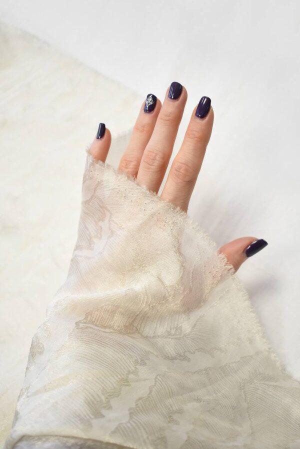 Органза шелк айвори с вышивкой (7338) - Фото 7