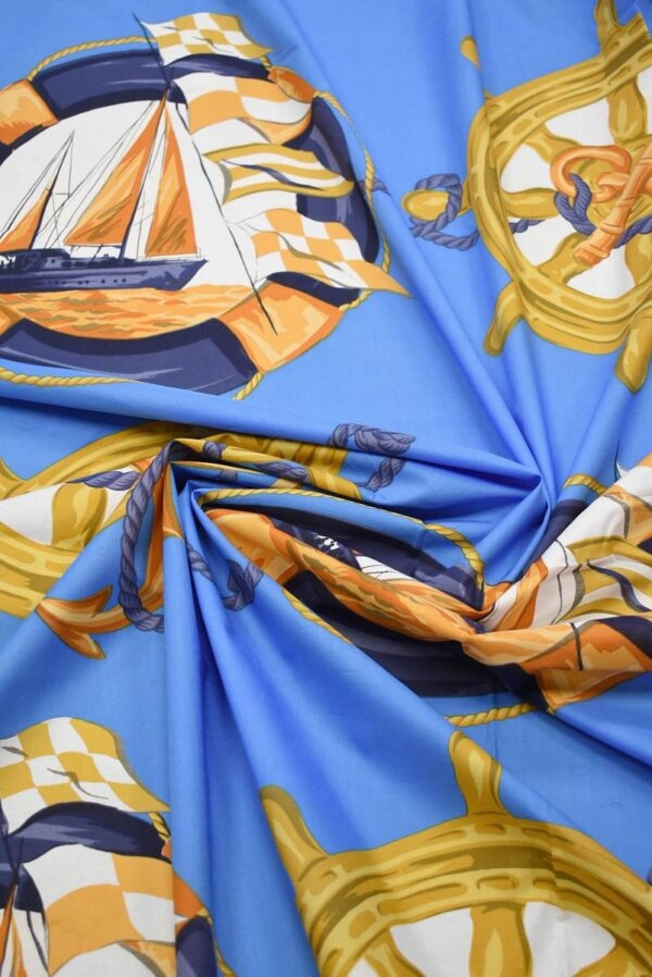 Хлопок голубой с морской тематикой (7385) - Фото 8