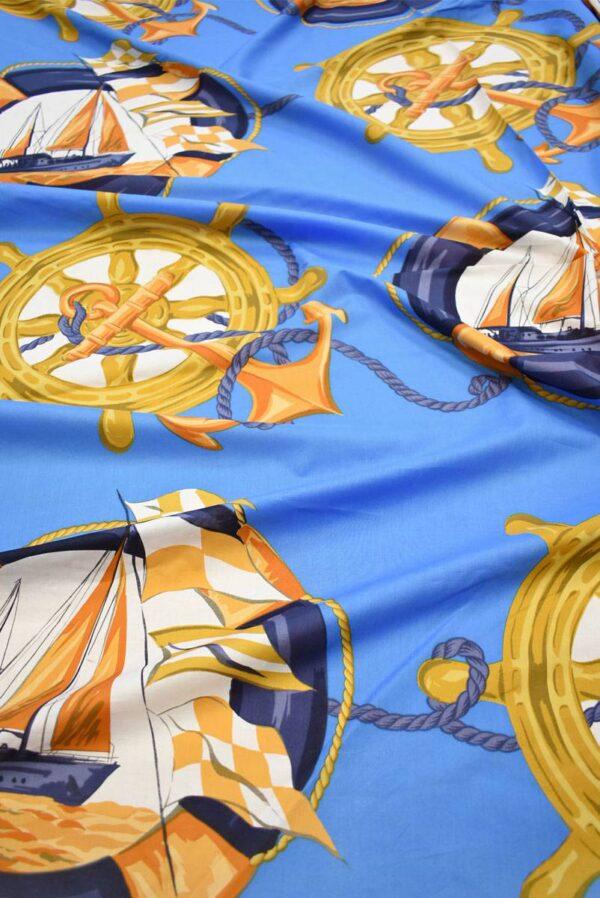 Хлопок голубой с морской тематикой (7385) - Фото 6