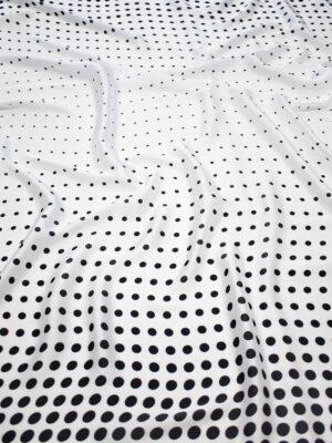 Атлас белый в черный горох (7386) - Фото 14