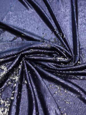 Пайетки двухсторонние темно-синие с серебром на трикотажной основе (7403) - Фото 11