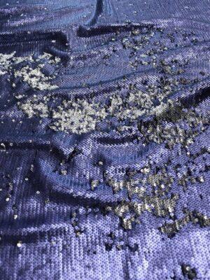 Пайетки двухсторонние темно-синие с серебром на трикотажной основе (7403) - Фото 10