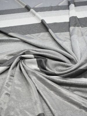 Трикотаж с люрексом в полоску оттенки серого (7444) - Фото 12