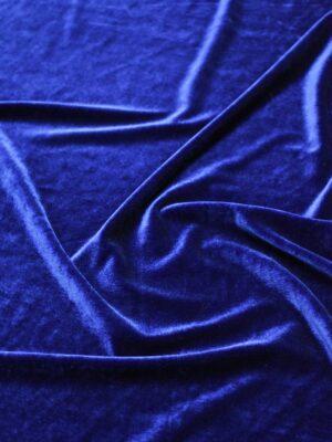 Бархат стрейч синий блестящий (7525) - Фото 15