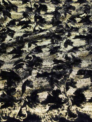 Мех черный с золотыми пайетками (7624) - Фото 9