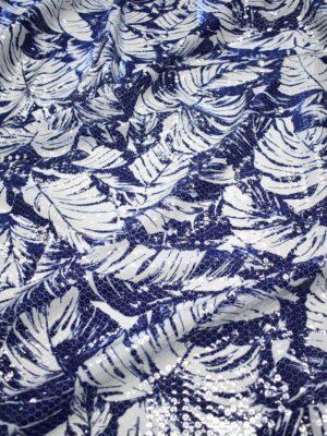 Пайетки на шифоне синие с белыми листьями (7650) - Фото 12