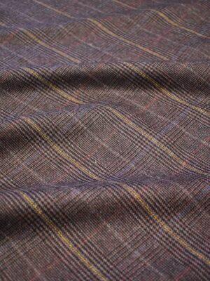 Костюмная шерсть стрейч коричневая в клетку (7669) - Фото 16