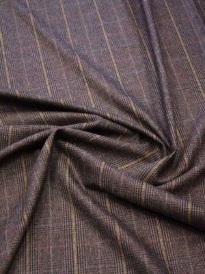 Костюмная шерсть стрейч коричневая в клетку (7669) - Фото 17