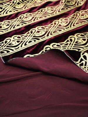 Бархат шелковый бордо с золотым орнаментом (7683) - Фото 12