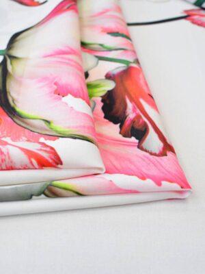 Креп с купоном красные тюльпаны на молочном (7738) - Фото 12