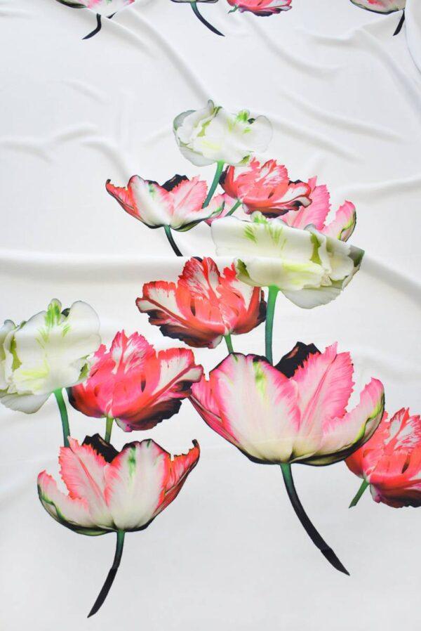 Креп с купоном красные тюльпаны на молочном (7738) - Фото 6