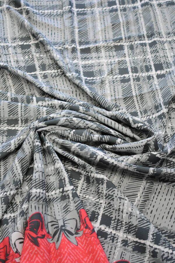 Штапель серая клетка кайма с бантиками (7800) - Фото 9