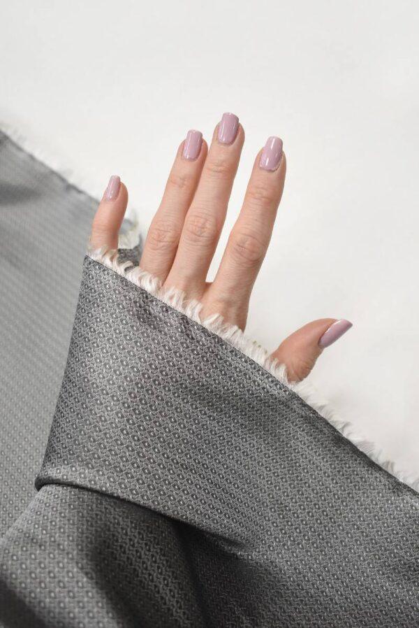 Подклад жаккардовый серый в мелкий узор (7904) - Фото 7
