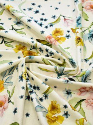 Рогожка молочного оттенка с цветами (7938) - Фото 12
