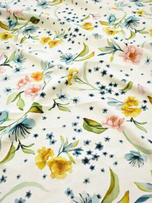 Рогожка молочного оттенка с цветами (7938) - Фото 11