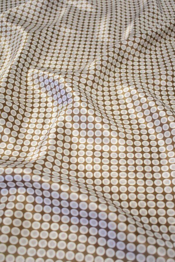 Шелк атласный коричневый в горошек (7946) - Фото 6