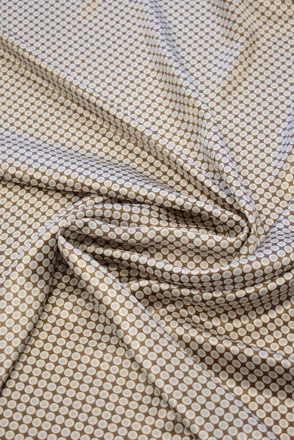 Шелк атласный коричневый в горошек (7946) - Фото 9