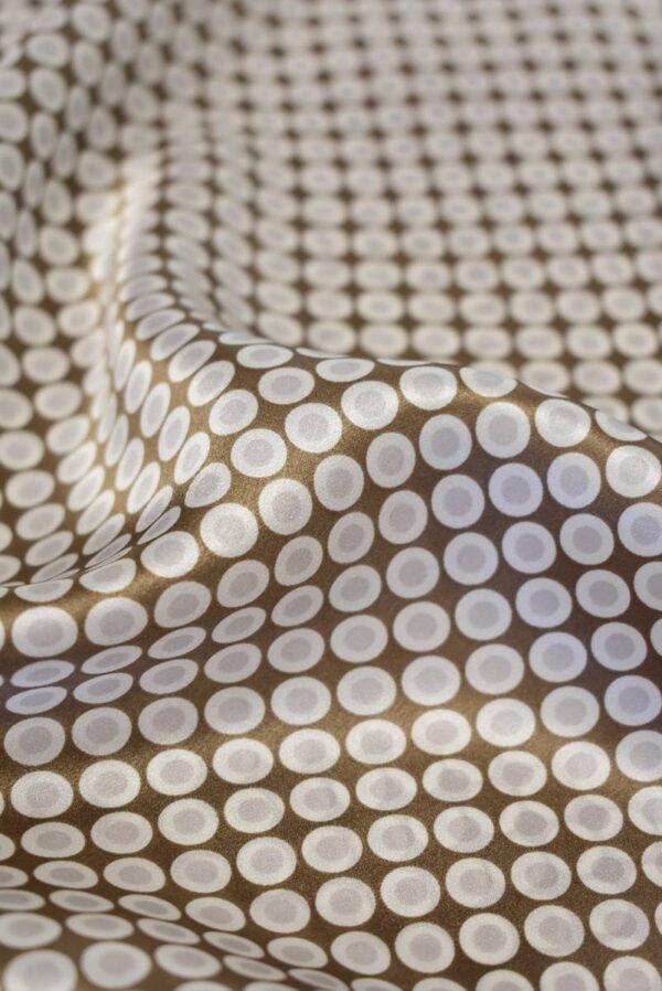 Шелк атласный коричневый в горошек (7946) - Фото 8
