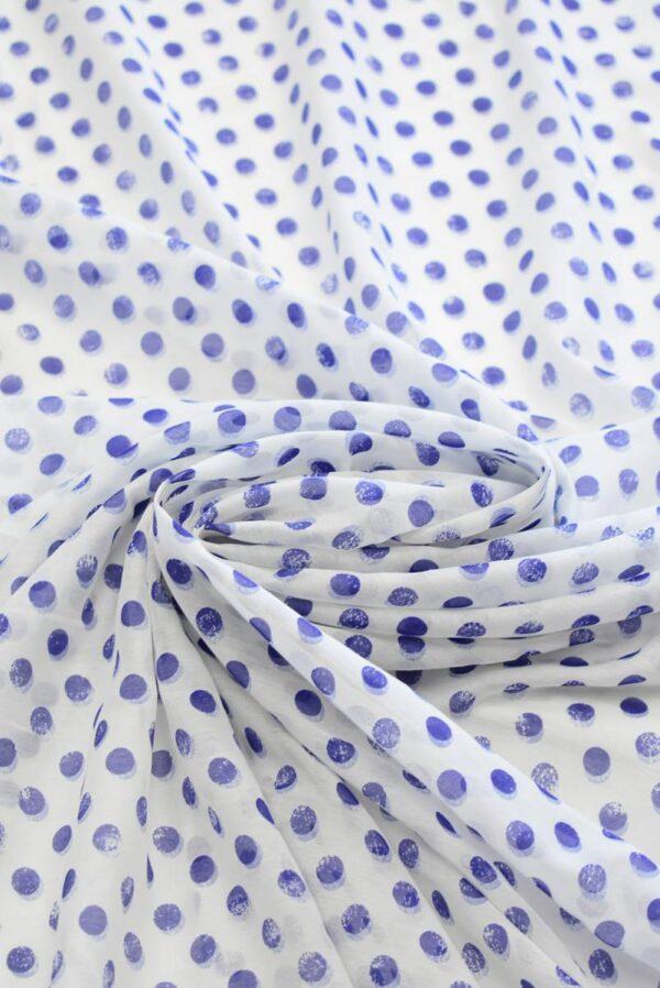 Батист белый в синий горошек (7950) - Фото 9