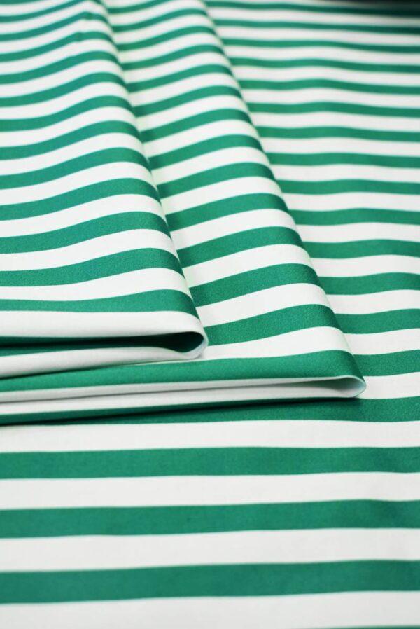 Сатин стрейч в зеленую и белую полоску (7998) - Фото 8