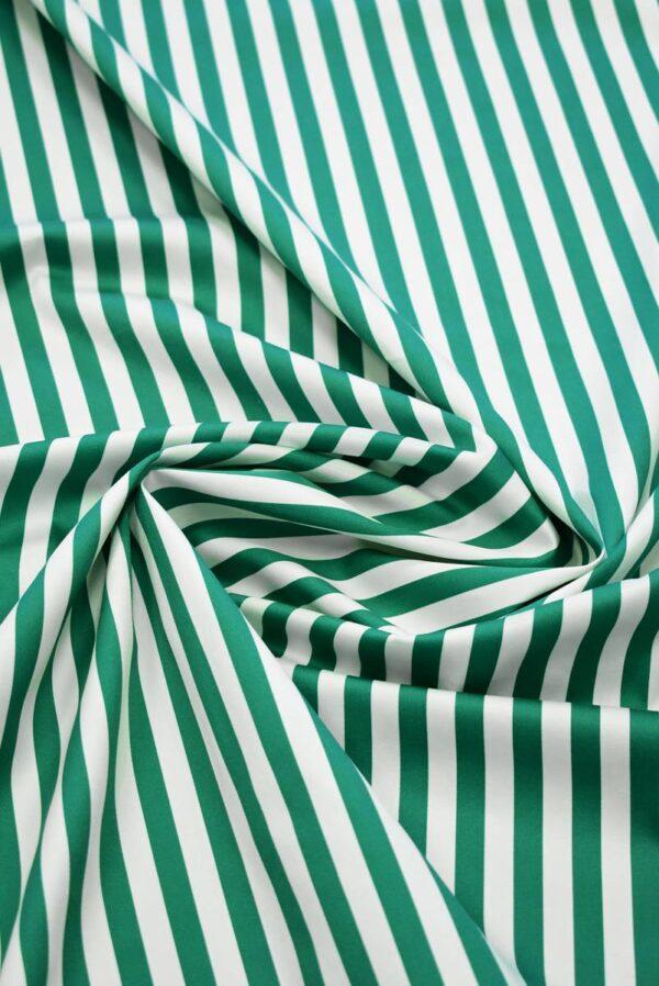 Сатин стрейч в зеленую и белую полоску (7998) - Фото 9