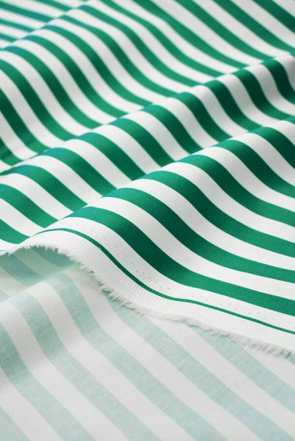 Сатин стрейч в зеленую и белую полоску (7998) - Фото 10