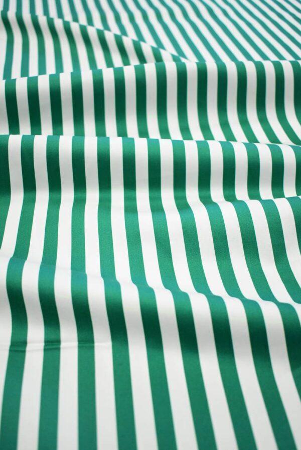 Сатин стрейч в зеленую и белую полоску (7998) - Фото 6