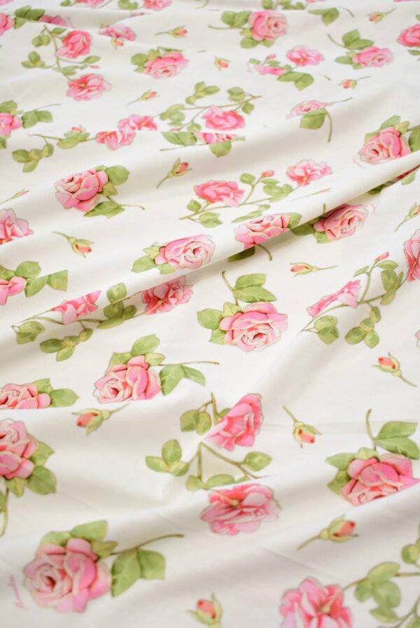 Трикотаж розы на молочно-белом фоне (8039) - Фото 6