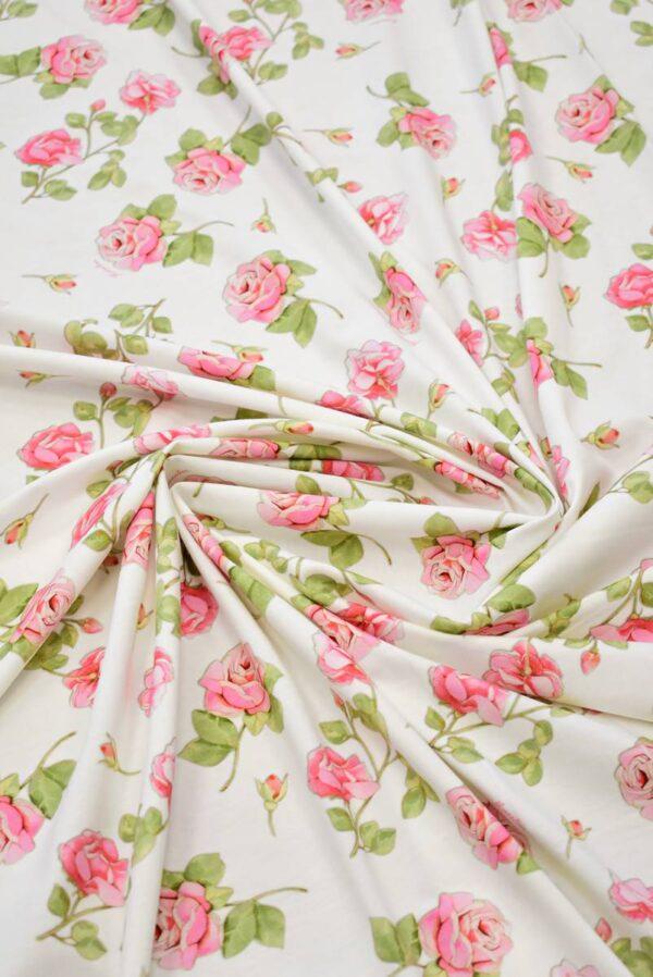 Трикотаж розы на молочно-белом фоне (8039) - Фото 8