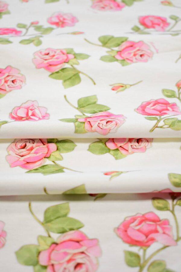 Трикотаж розы на молочно-белом фоне (8039) - Фото 10