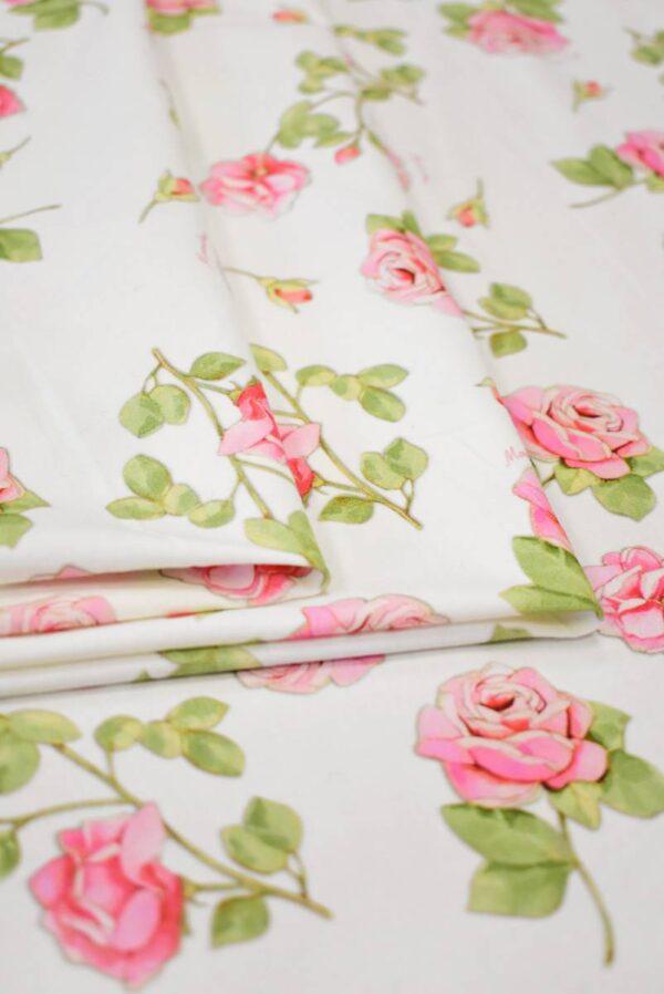 Трикотаж розы на молочно-белом фоне (8039) - Фото 9