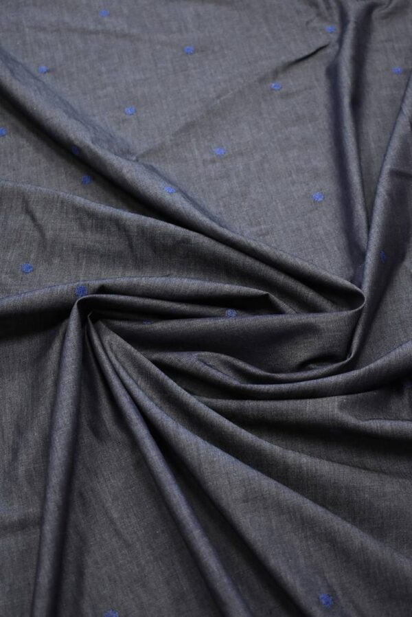 Штапель графитовый с вышивкой в горошек (8087) - Фото 8