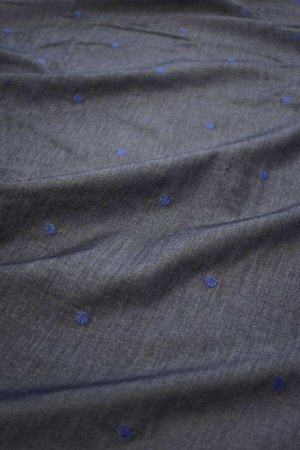 Штапель графитовый с вышивкой в горошек (8087) - Фото 6
