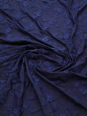 Трикотаж с вышивкой цветы на темно-синем фоне (8195) - Фото 16