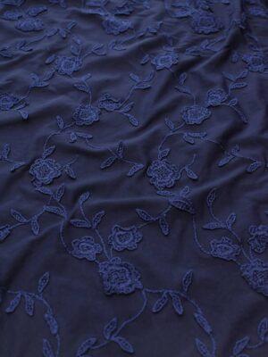 Трикотаж с вышивкой цветы на темно-синем фоне (8195) - Фото 15