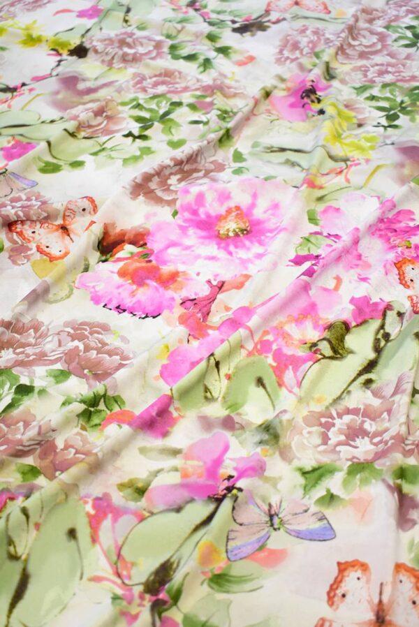 Трикотаж с акварельными цветами и бабочками (8199) - Фото 6