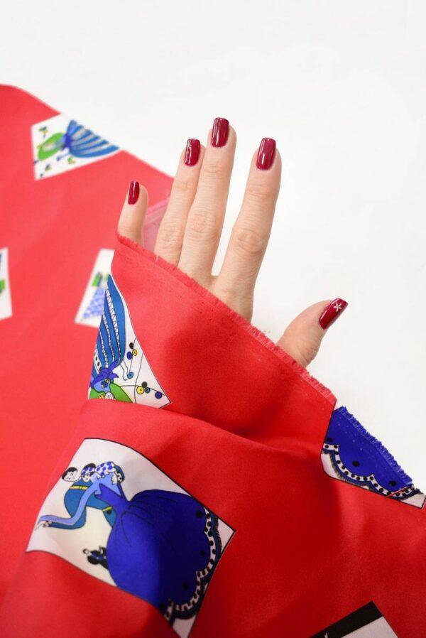 Плательная ткань красная с картами (8229) - Фото 7