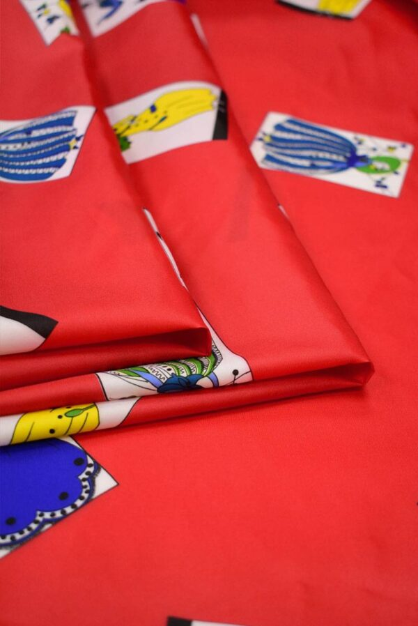 Плательная ткань красная с картами (8229) - Фото 8