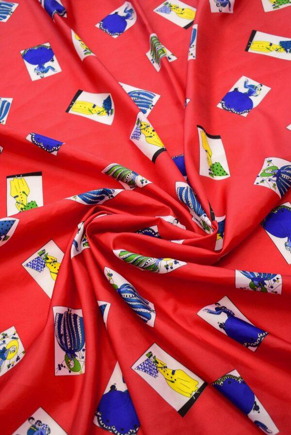 Плательная ткань красная с картами (8229) - Фото 9