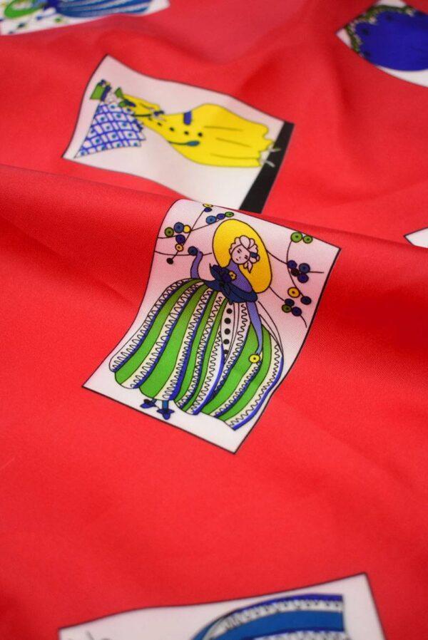 Плательная ткань красная с картами (8229) - Фото 10