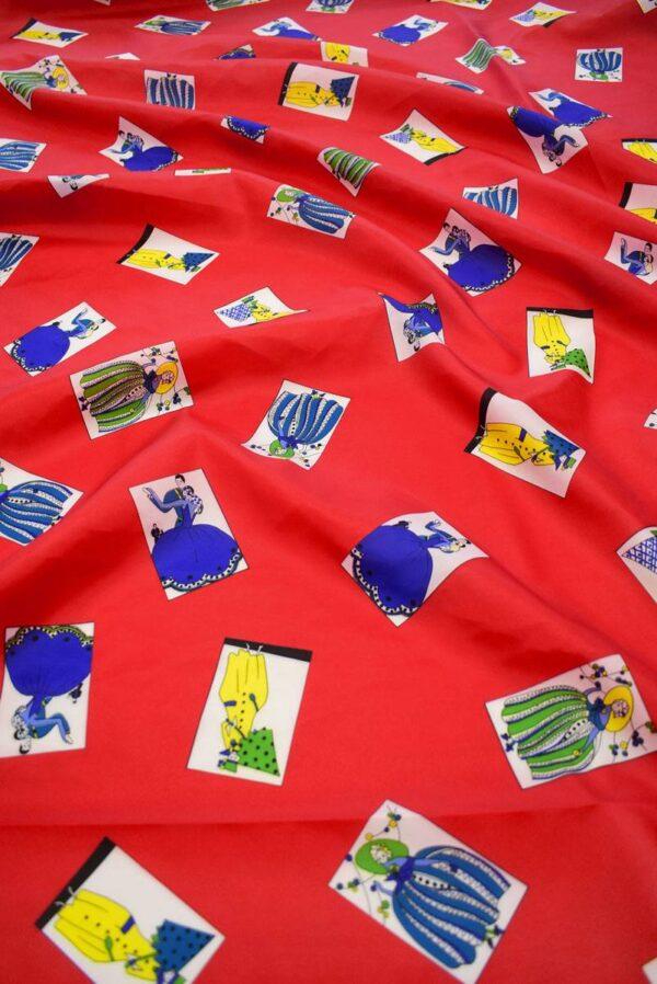 Плательная ткань красная с картами (8229) - Фото 6